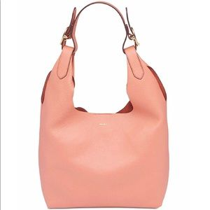 DKNY WES PEBBLED LEATHER HOBO -  Coral